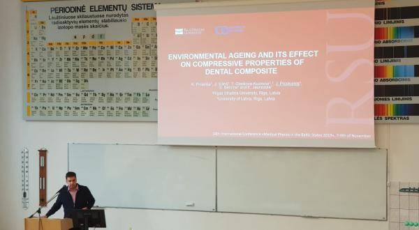 J. Proskurins presents the Scientific Project about composite materials in dentistry.